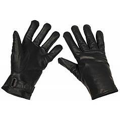 Зимние перчатки BW (кожа+микрофлис), черные 15061A
