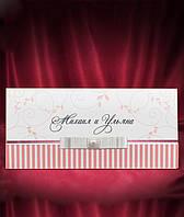 Приглашения в розовых тонах с белым бантиком, свадебные пригласительные, печать текста
