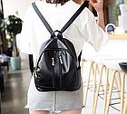 Рюкзак женский чёрный PU кожзам. с двумя вертикальными замочками 26 см - 29 см. - 12 см., фото 4