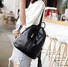 Рюкзак женский чёрный PU кожзам. с двумя вертикальными замочками 26 см - 29 см. - 12 см., фото 5