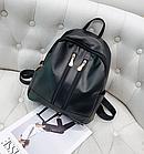 Рюкзак женский чёрный PU кожзам. с двумя вертикальными замочками 26 см - 29 см. - 12 см., фото 6
