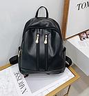 Рюкзак женский чёрный PU кожзам. с двумя вертикальными замочками 26 см - 29 см. - 12 см., фото 7
