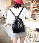 Рюкзак женский чёрный PU кожзам. с двумя вертикальными замочками 26 см - 29 см. - 12 см., фото 9