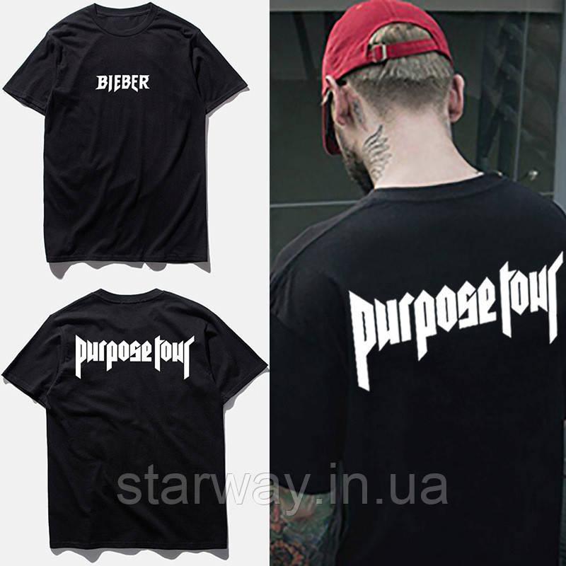 Футболка черная Purpose Tour | Bieber logo