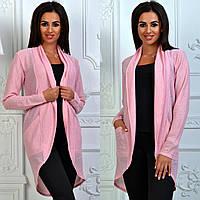 Легкий кардиган с карманами, розовый