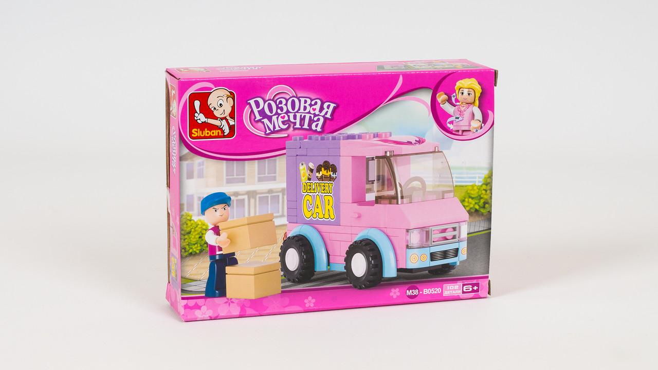 Конструктор SLUBAN - грузовик доставки. Серия Розовая мечта. В коробке 102 детали