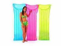 Матрац 59702 (24шт) прозрачный, 183-69см, подушка, 3 цвета, в кульке, 25-23,5см