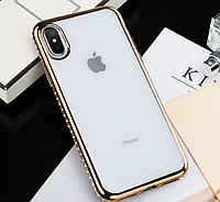 Силиконовый прозрачный чехол с золотыми камнями Сваровски для Iphone XS Max