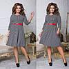 Женское трикотажное приталенное платье под пояс 48-50, 52-54, 56-58, фото 3