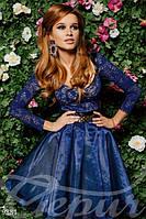 Женское платье с длинными гипюровыми рукавами пышной юбки из органзы поясная вставка эко кожа , фото 1