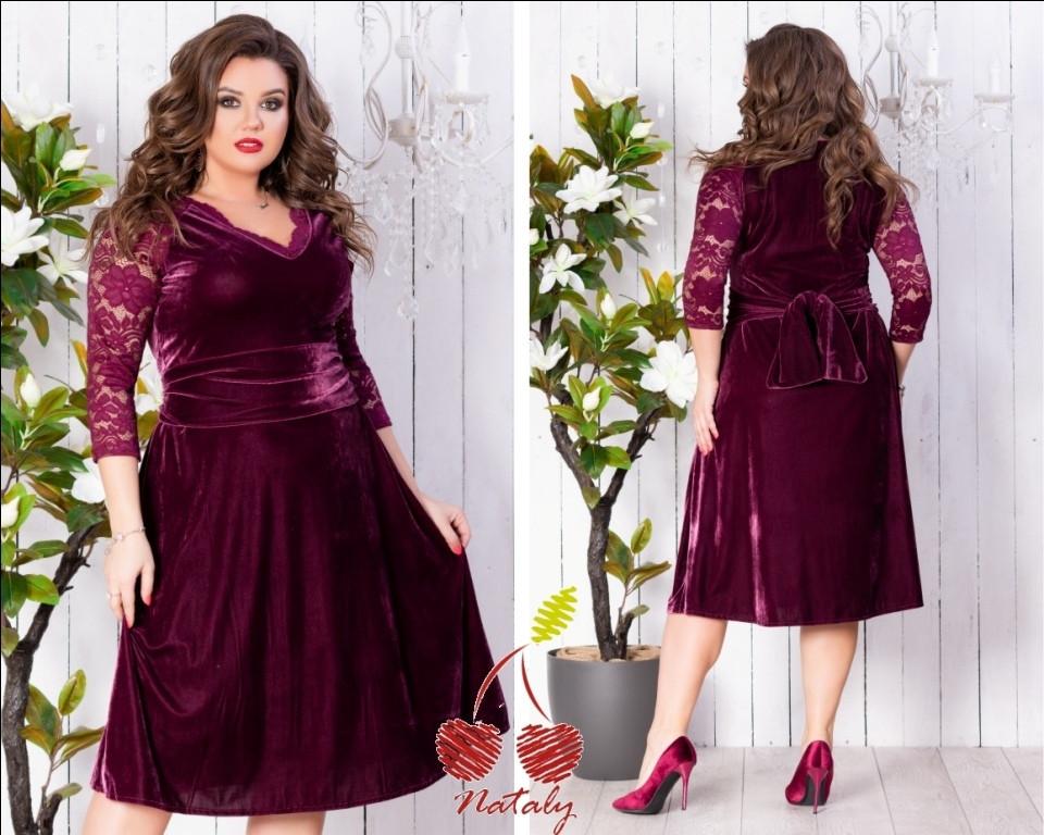 1207eb0ac27 Красивое бархатное платье с гипюром больших размеров до 56-го бордо -  Стильная женская одежда
