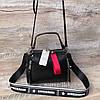 Женская кожаная сумка черная серая пудра