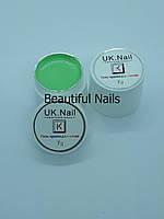 Гель-краска для ногтей UK.Nail №07 цвет нежно-салатовый,7 грамм