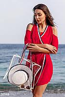 Короткая пляжная шифоновая туника с сумкой в комплекте