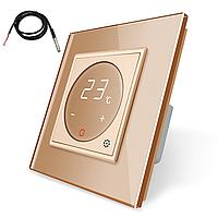 Терморегулятор сенсорний Livolo для електричного теплого статі з датчиком золотий (VL-C701TM2-13)