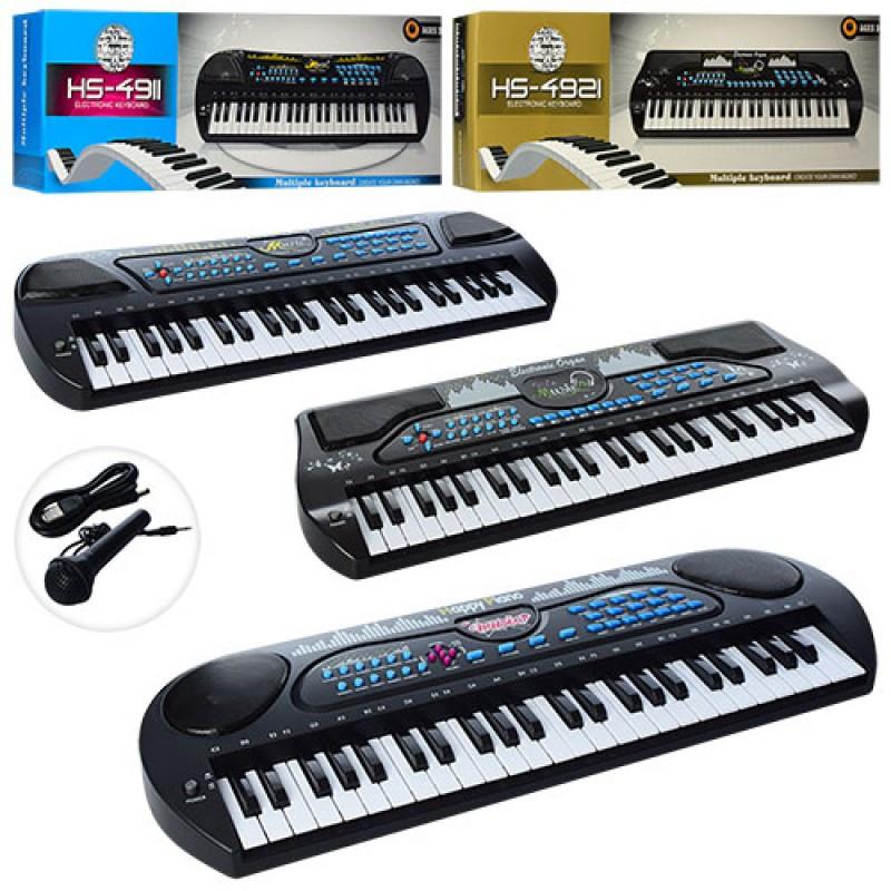 Синтезатор HS4911-21-31 49 клавіш, мікрофон, USB зарядне, запис, демо, 3 види, в коробці, 66-24-10см