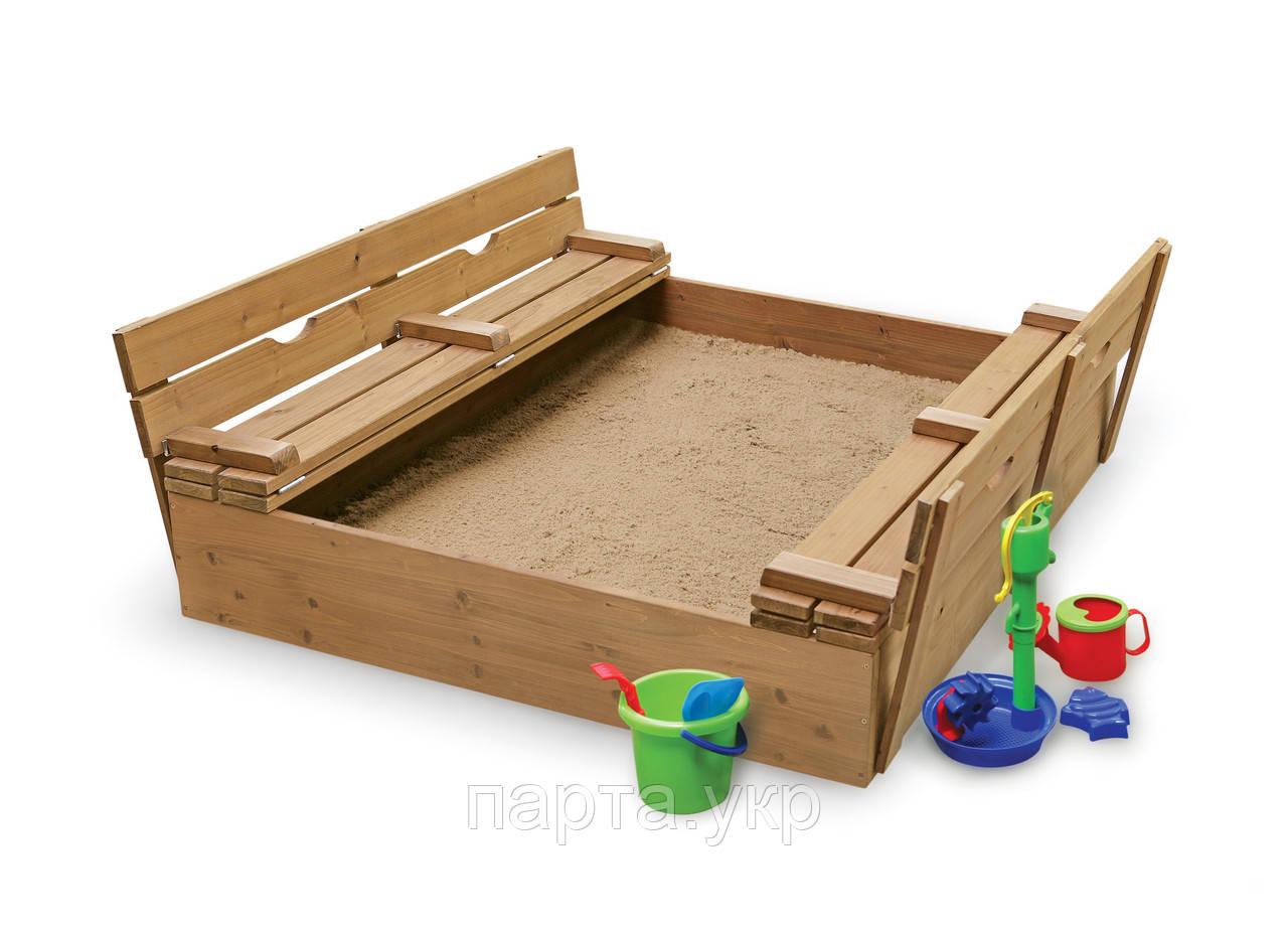 Песочница 2.0*2.0 м с лавочками-крышкой-2