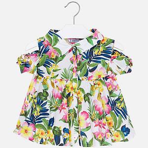 Блузка короткий рукав с воротничком, расклешённая, принт цветы