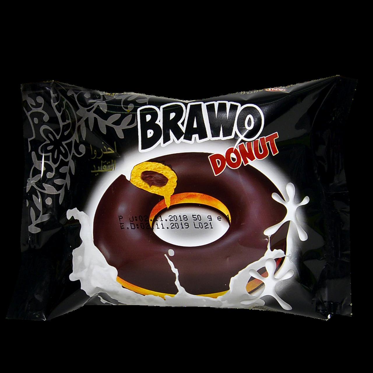 Кекс Brawo Donut с начинкой какао в какао-молочной глазури (черн.)50г 1 уп/24шт