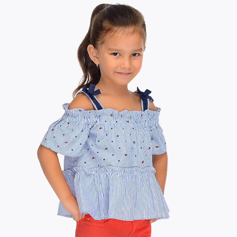 Блузка короткий рукав хлопковая, в полоску, с открытыми плечами