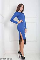 Элегантное приталенное платье с вырезом на ноге и кружевной  кромкой на юбке   Similar BLUE, L