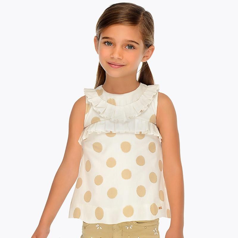 Блузка короткий рукав хлопковая,в крупный горох,с декором