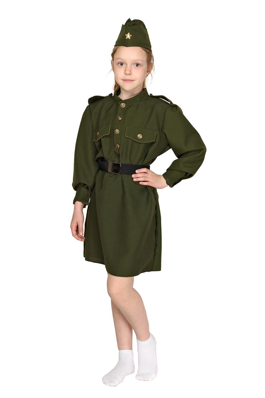 Карнавальный костюм Военного, солдата для девочки Рост 124-130 см