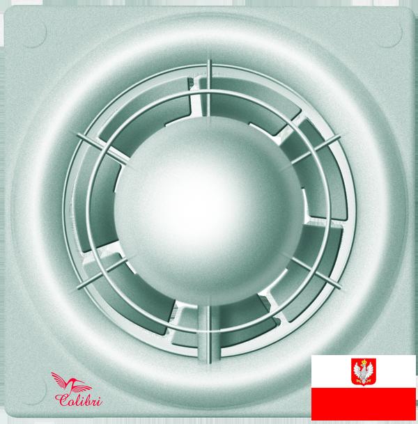 Внешний вид недорогого вентилятора с датчиком влажности и таймером для настенного и потолочного монтажа Colibri Flight 100TH silver (диаметр патрубка воздуховода ― 100 мм, высокая производительность, малошумный, реле влажности, реле времени) ― купить по низкой цене с доставкой по Украине в интернет-магазине систем вентиляции ventsmart.com.ua