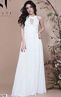Шикарное платье в пол юбка расклешенная без рукав с кружевами шифон цвет молоко