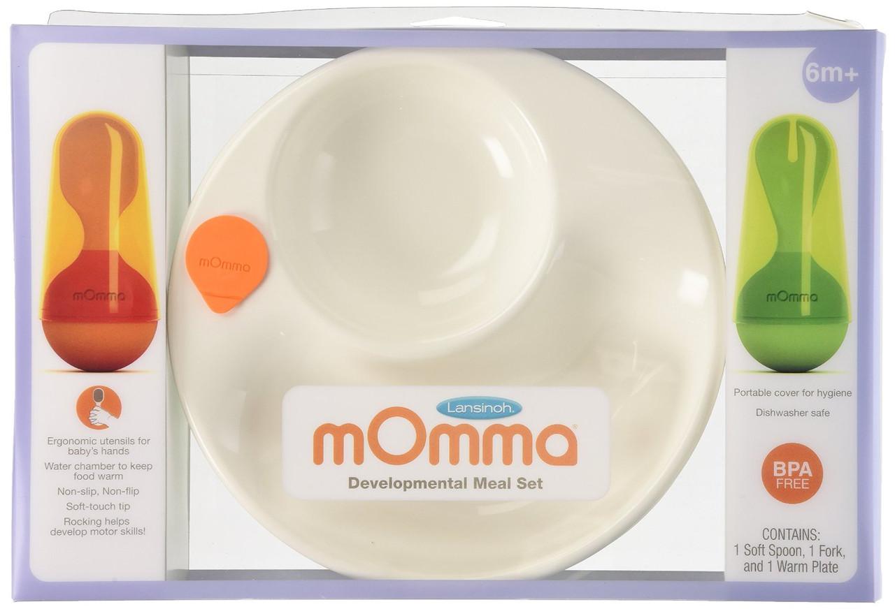 Термо-тарелка Lansinoh Momma с приборами, 6+