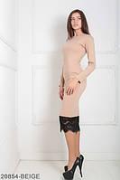 Элегантное приталенное платье с гипюром и лаконичным вырезом на ноге  Similar BEIGE, L