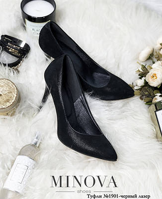 Туфли женские из натуральной кожи, черные, размер:36-41, фото 2