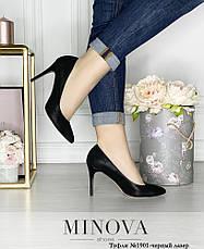 Туфли женские из натуральной кожи, черные, размер:36-41, фото 3