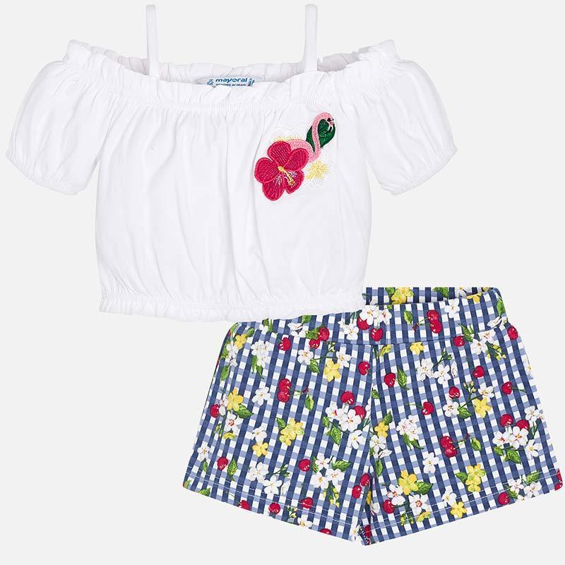 Комплект шорты и майка в клетку, с принтом цветы и вишня, укороченная майка
