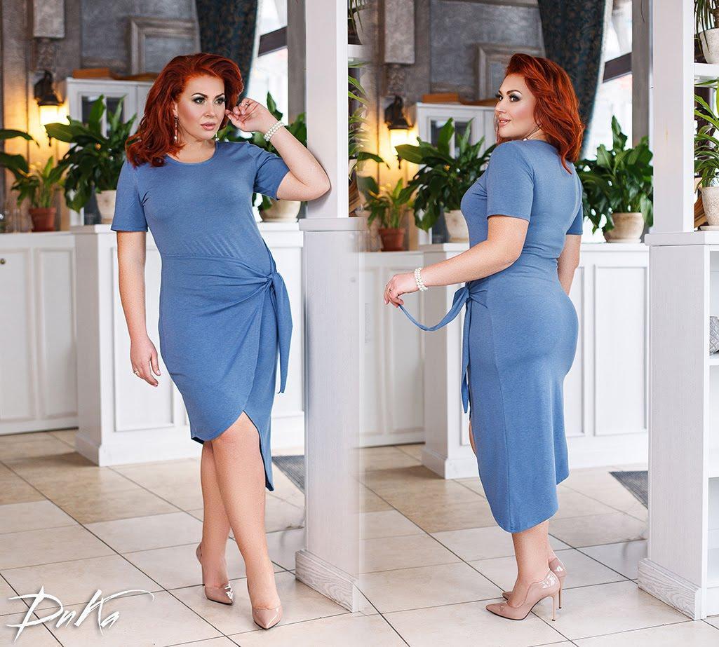 Платье женское короткое из визкозы с завязкой на талии (К27035)
