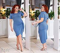 Платье женское короткое из визкозы с завязкой на талии (К27035), фото 1