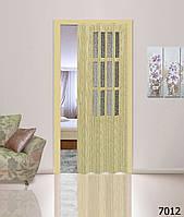 Дверь гармошка со стеклом. Цвет: сосна №7012 2030мм/860мм/10мм