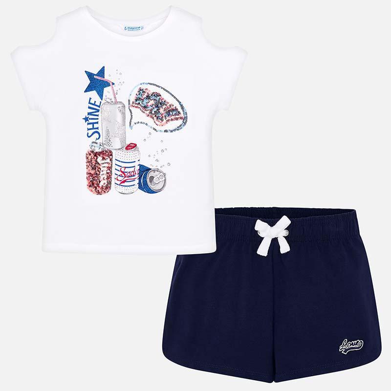 Комплект шорты и футболка хлопковый, аппликация из пайеток и открытые плечи