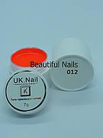 Гель-краска для ногтей UK.Nail №12 цвет кислотно-оранжевый,7 грамм
