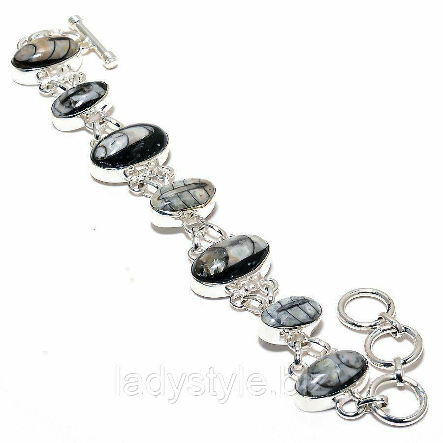 """Шикарный серебряный браслет с ортоцерасом  """"Звуки моря"""""""