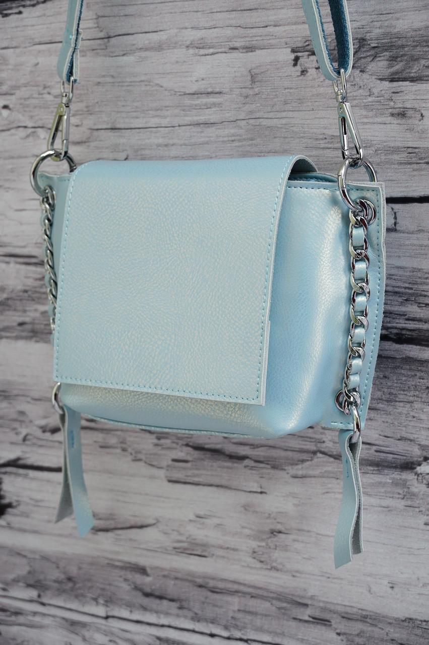 Стильный клатч из натуральной кожи с цепочками 8038 p.blue