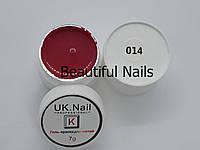 Гель-краска для ногтей UK.Nail №14 цвет ярко-красный,7 грамм