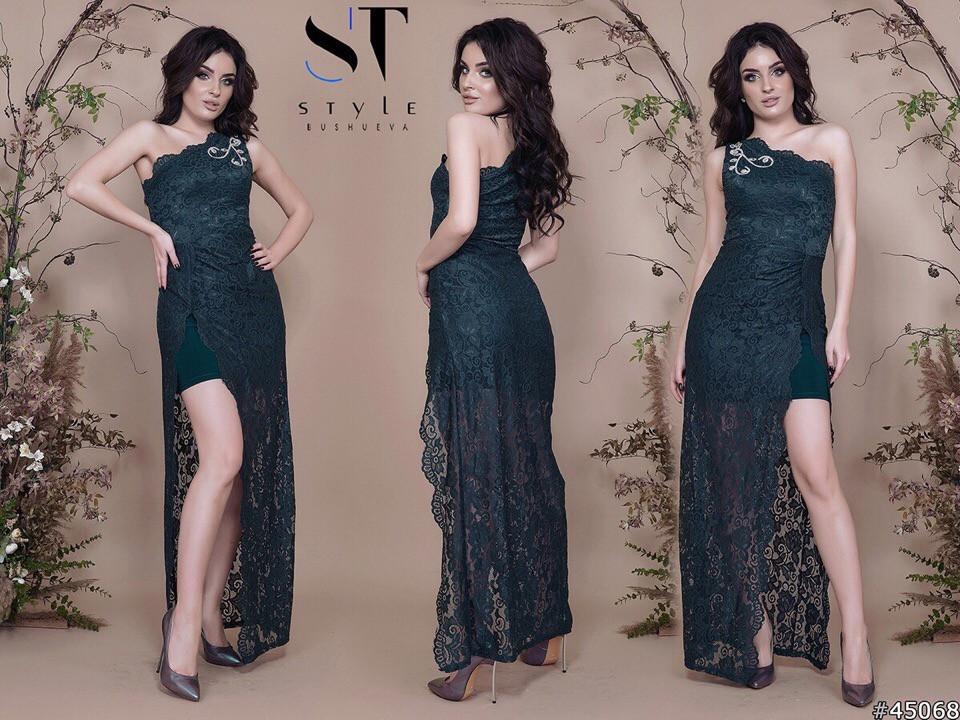 Женское облегающее вечернее гипюровое платье, декор -стразы 42,44,46р (6расцв)