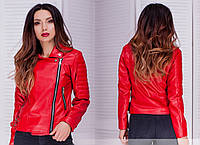 Стильная женская куртка - косуха из качественной эко кожи краная