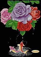 """Схема для вышивки """"Розы и карпы"""""""