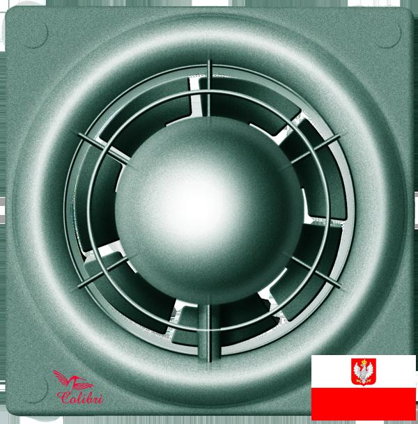 Внешний вид хорошего недорогого вентилятора с датчиком влажности и таймером для настенного и потолочного монтажа Colibri Flight 100TH titan (диаметр патрубка воздуховода ― 100 мм, высокая производительность, малошумный, реле влажности, реле времени) ― купить по низкой цене с доставкой по Украине в интернет-магазине систем вентиляции ventsmart.com.ua
