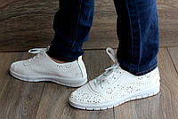 36 и 38р Жіночі кросівки - мокасини білі літні з перфорацією  (Бж-1б)