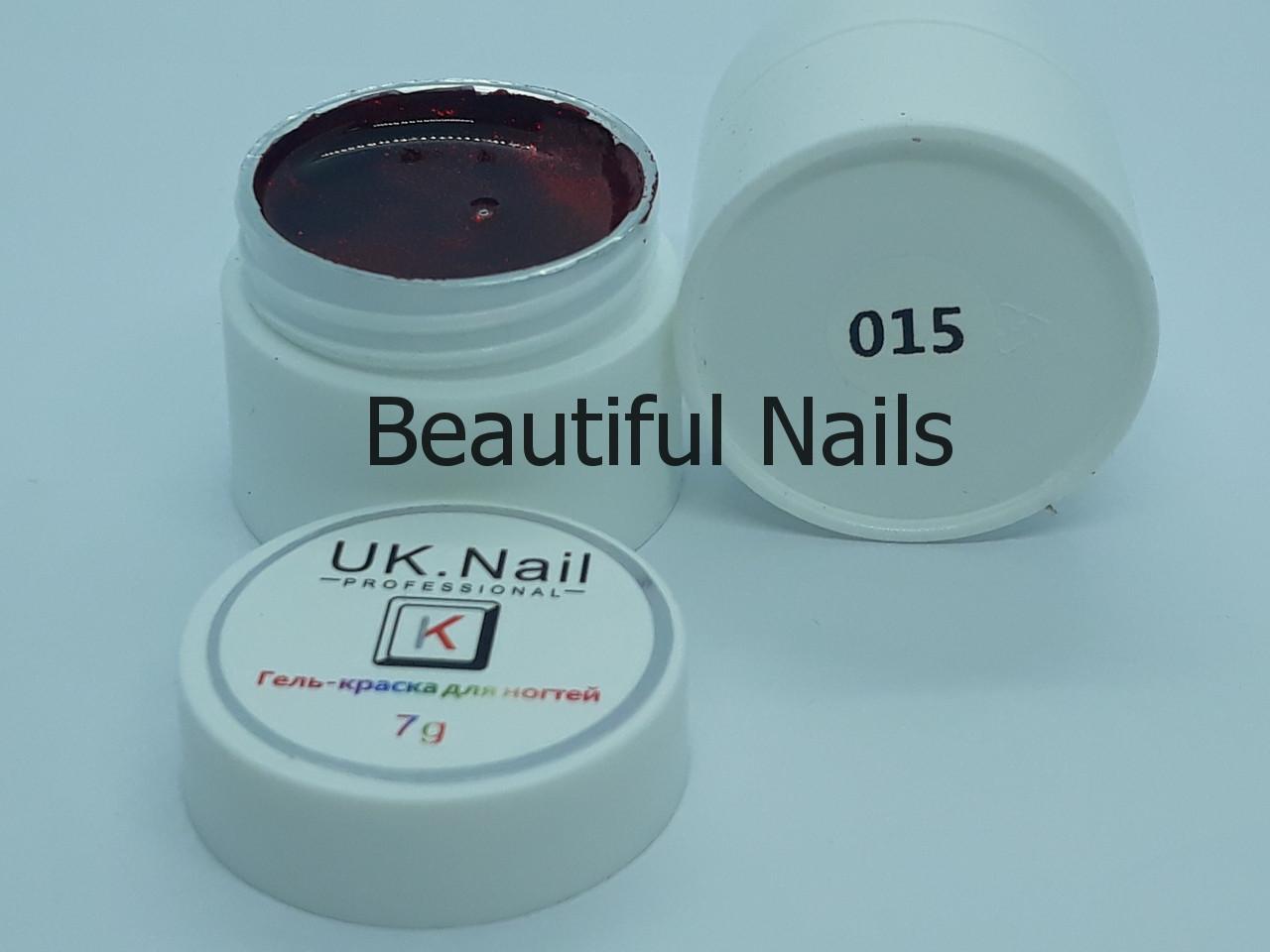 Гель-фарба для нігтів UK.Nail №15 колір червоний з блискітками,7 грам