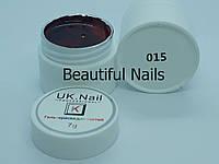 Гель-фарба для нігтів UK.Nail №15 колір червоний з блискітками,7 грам, фото 1