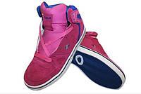 Кроссовки для хип-хопа (скейтера) Кожа CIRCA  (р-р 36-41) (верх-кожа, подошва-TPU, малиновый-синий)